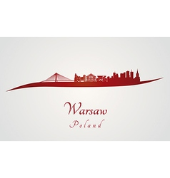 Warsaw skyline in red vector