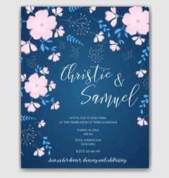 wedding invitation flowers template vector image
