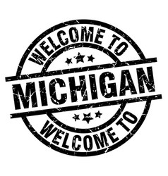 Welcome to michigan black stamp vector