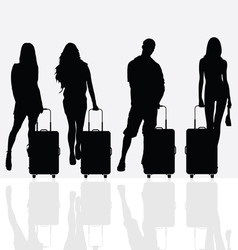 woman with travel baggage vector image