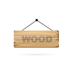 wood board sign with shadow on a white background vector image