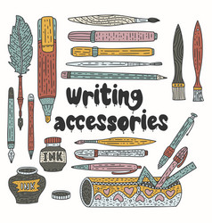 writting accessories set doodle color vector image