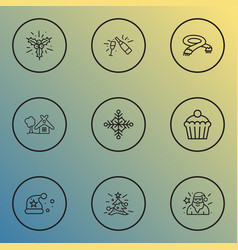 Year icons line style set with cupcake small hut vector