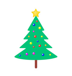 christmas tree with bright balls and yellow star vector image