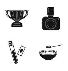 cup camera and other web icon in black style vector image