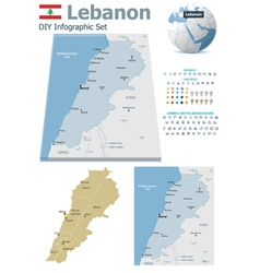 Lebanon maps with markers vector image vector image