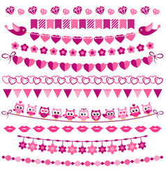 pink garland and flags set isolated on white vector image vector image