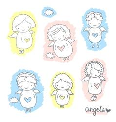 Set of cute sketch angels vector