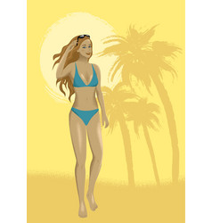 woman at sand beach vector image