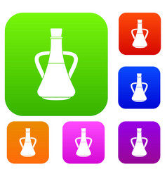 bottle with olive oil set collection vector image vector image