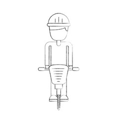 Builder with hydraulic hammer isolated icon vector