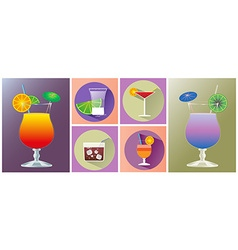 Cocktail glasses of different shapes icon set vector image