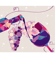 Glass of red wine with grape made of triangles vector image