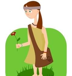 Hippie girl with flower in hand vector