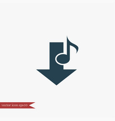 music note download icon simple vector image vector image