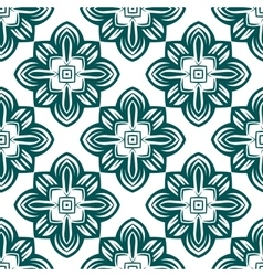Retro green flowers seamless pattern vector image vector image