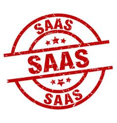 saas round red grunge stamp vector image vector image