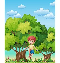 A boy playing with the skipping rope near the vector image vector image