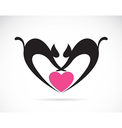 cat on a heart shape vector image
