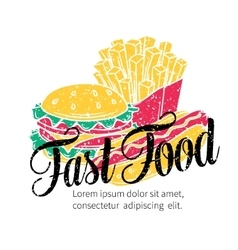 Fast food hand drawn banner vector image vector image
