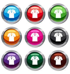 men polo shirt set 9 collection vector image