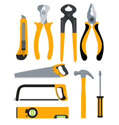 set of isolated icons building tools for repair vector image vector image