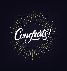 congrats hand written lettering vector image vector image