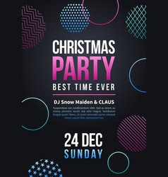 happy new year and christmas party poster vector image vector image