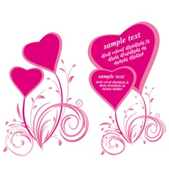 stylized hearts and floral elements vector image vector image