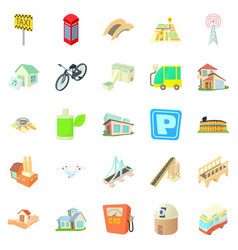 townish icons set cartoon style vector image vector image