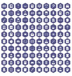 100 reader icons hexagon purple vector