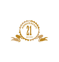 21 years ribbon anniversary vector image