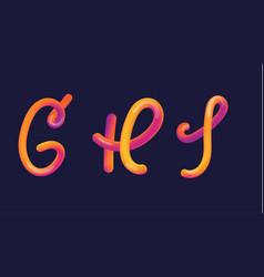 3d gradient lettering font set with letter - g h vector