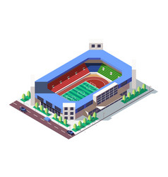 3d isometric square ground stadium near road with vector image
