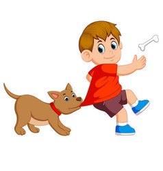 a cute dog is beating his owner cloth vector image