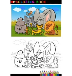 african wild animals cartoon for coloring book vector image