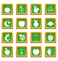 Apple icons set green vector