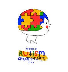 Autism awareness day child puzzle head card vector