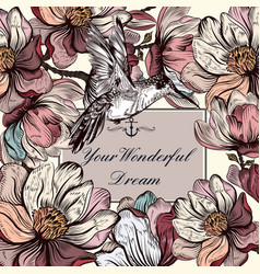 background with magnolia flowers and bird vector image