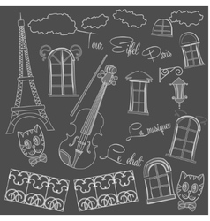 Background with music and city on black chalkboard vector