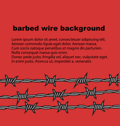 Barbed wire red background with place for text vector
