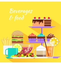 Beverages and Food Design Flat vector image