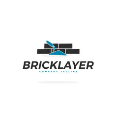 Bricklayer logo with trowel vector