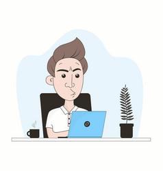 businessman works at home vector image