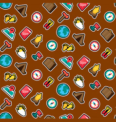 camping stickers seamless color pattern vector image