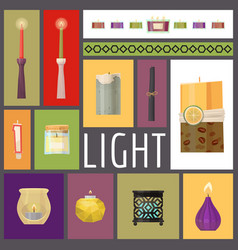 Candle fire wax candles for vector