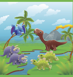 Cartoon dinosaurs scene vector