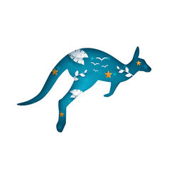 cartoon paper kangaroo cloud landscape vector image