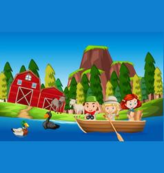 Children in a boat farm scene vector