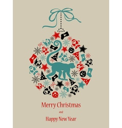Christmas card Monkey in black-red-green vector